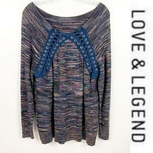 LOVE & LEGEND Womens Lace up Knit Sweater 2X